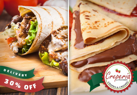 Delivery Crepes e Wraps com 30% OFF, a partir de R$16,80.